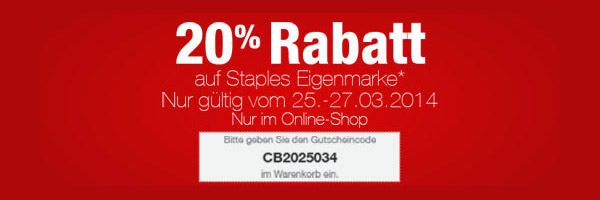 staples gutschein 20 rabatt auf die eigenmarke. Black Bedroom Furniture Sets. Home Design Ideas