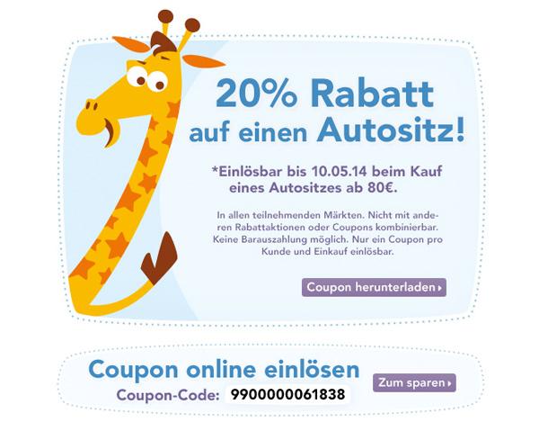 Toys-R-Us Gutschein für Kinder-und Autositze