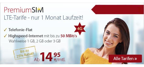 günstige LTE Internet-Flat mit 1GB Volumen