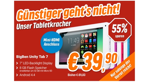 7 zoll android tablet bigben unity tab 7 f r unter 50 euro. Black Bedroom Furniture Sets. Home Design Ideas