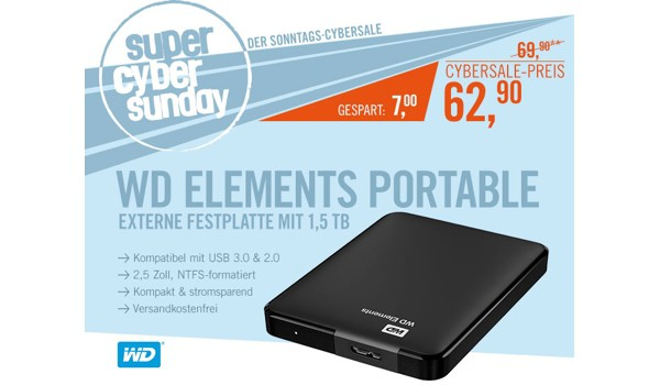 WD Elements Portable USB 3.0 1,5 TB 2.5 zoll
