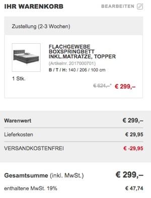 Boxspringbett bis 300 Euro günstig kaufen