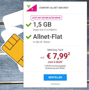 original Telekom Allnet Flat Vertrag unter 8 Euro im Monat