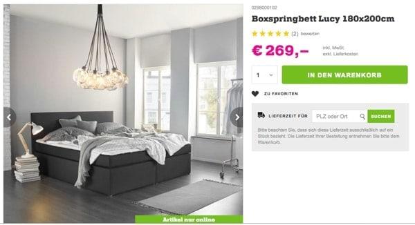 Boxspringbett 180x200 bis 300 Euro