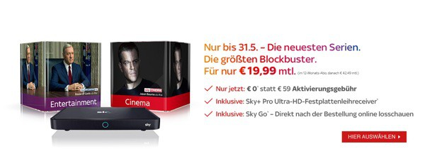 SKY Angebot unter 20 Euro im Monat