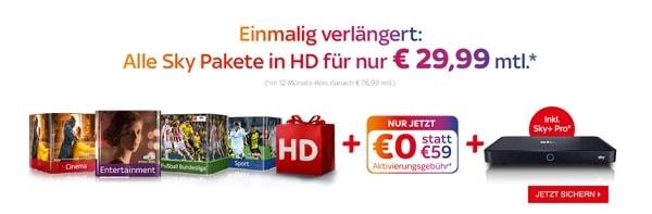 SKY UHD Pakete günstiger unter 30 Euro